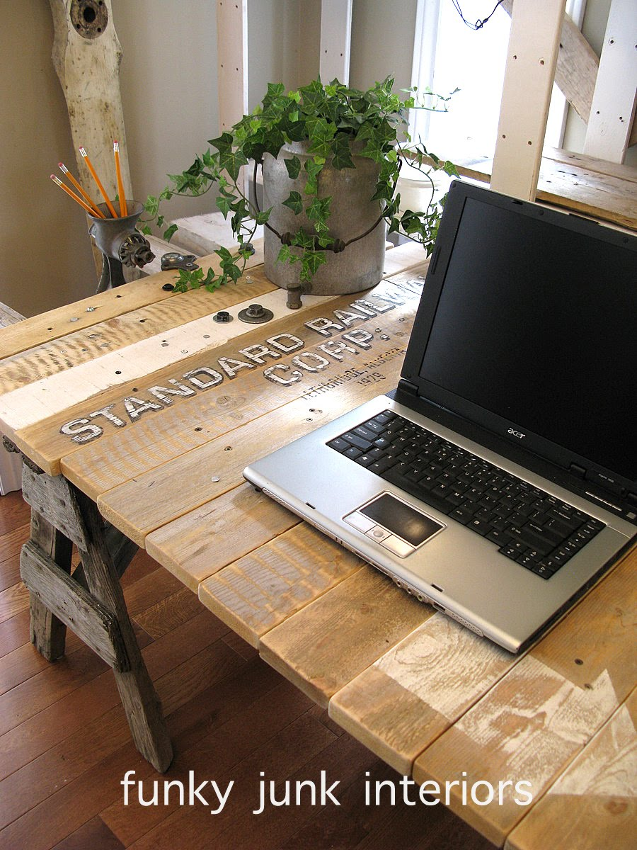 Pallet Wood Sawhorse Ladder Junk Styled Blogging Desk Via Funky Interiors