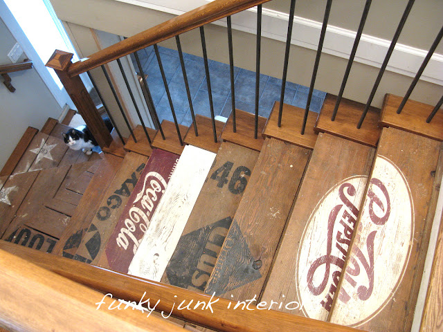Painted wooden crate stairs stenciled in vintage soda logo designs