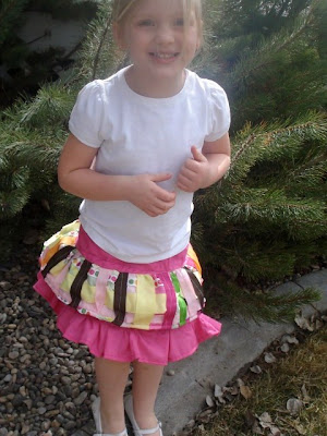 Skirt made from ribbon embellished fabric