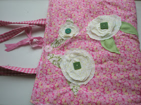 Front Cover of the Pencil and Notebook Case Pattern with Raw Edge Applique Flowers