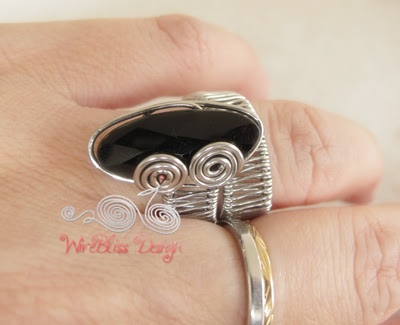 Adjustable Wire Woven Ring - Black Onyx