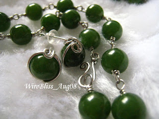 Wire Wrapped Jade Necklaces and Earrings