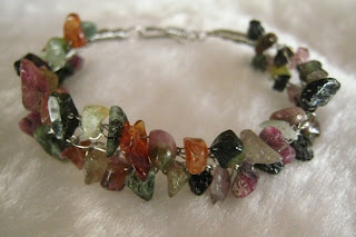 tourmaline chips wire crochet bracelet