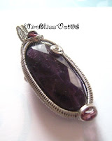 wire woven faceted amethyst pendant