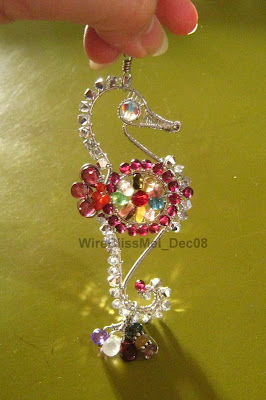 Wire Wrapped Seahorse Pendant with multiple colorful gemstones