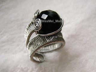 adjustable wire woven ring (Black Onyx)
