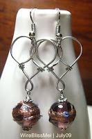 Heart Shaped Wire Wrapped Dangle Earrings