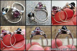 wire wrapped sparkly rings, oxidized vs unoxidised