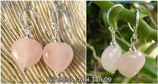 wire wrapped earrings - rose quartz