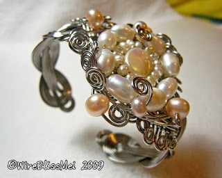 braided wire cuff with pearl