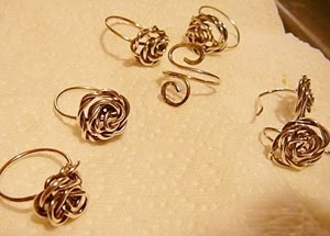 wire wrapped rose earrings by Dana and Ginny