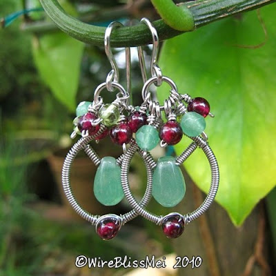 wire wrapped dangle earrings with garnet, peridot and green agate