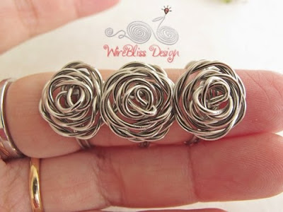 Three wire wrapped rose rings