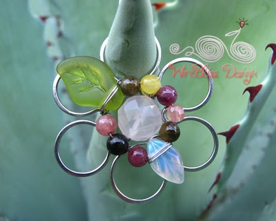 Multi gemstones Wire Wrapped Floral Pendant