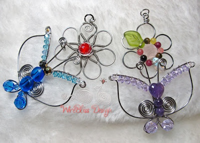 Two Wire Wrapped Butterfly and Flower Pendants