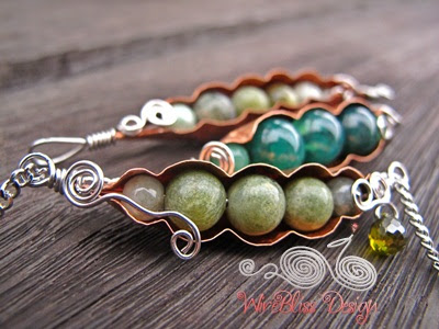 wire wrapped Peas in a Pod using copper sheet and gemstones