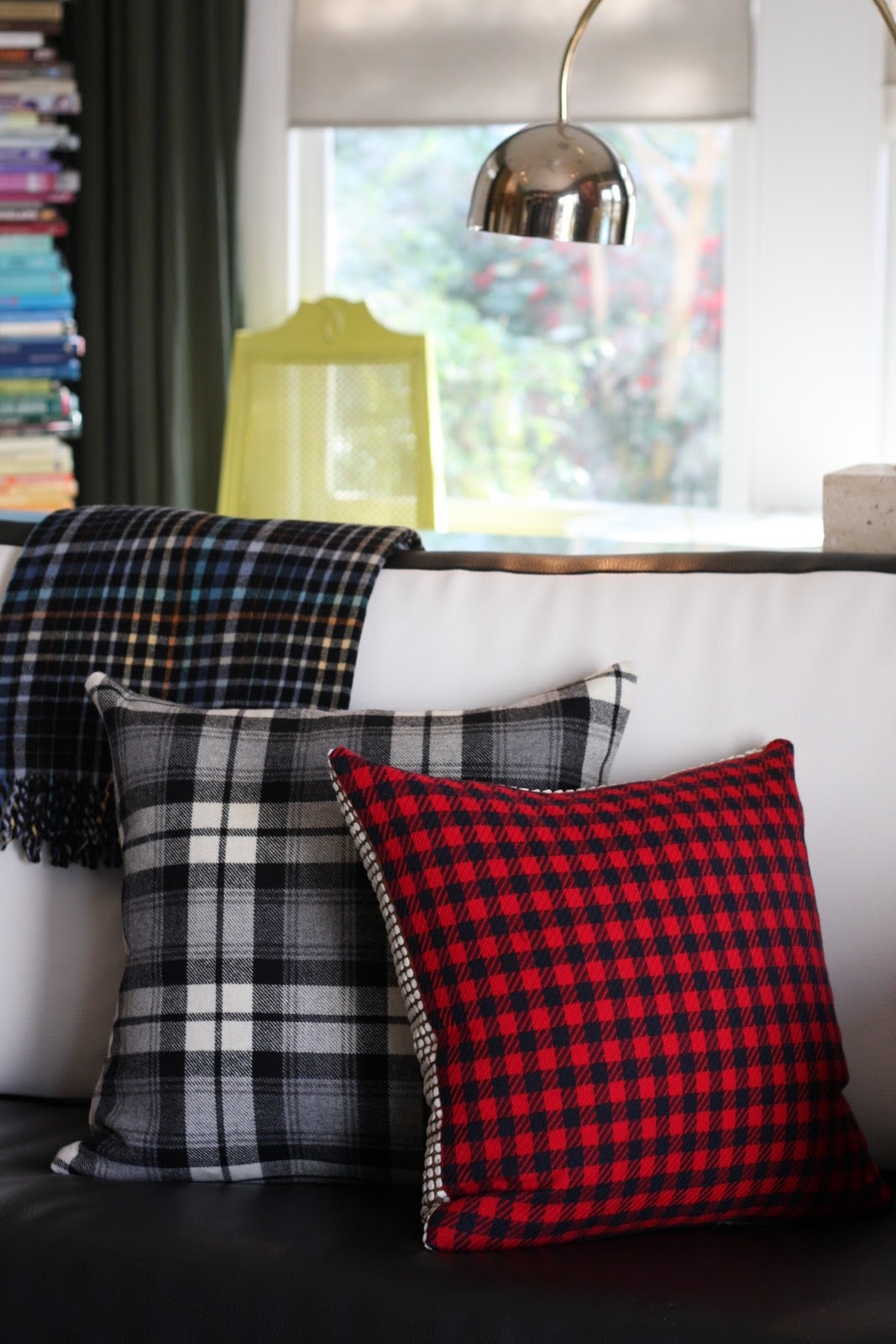 plaid sofa cushions stretch covers for uk christie chase 276 wool pillows