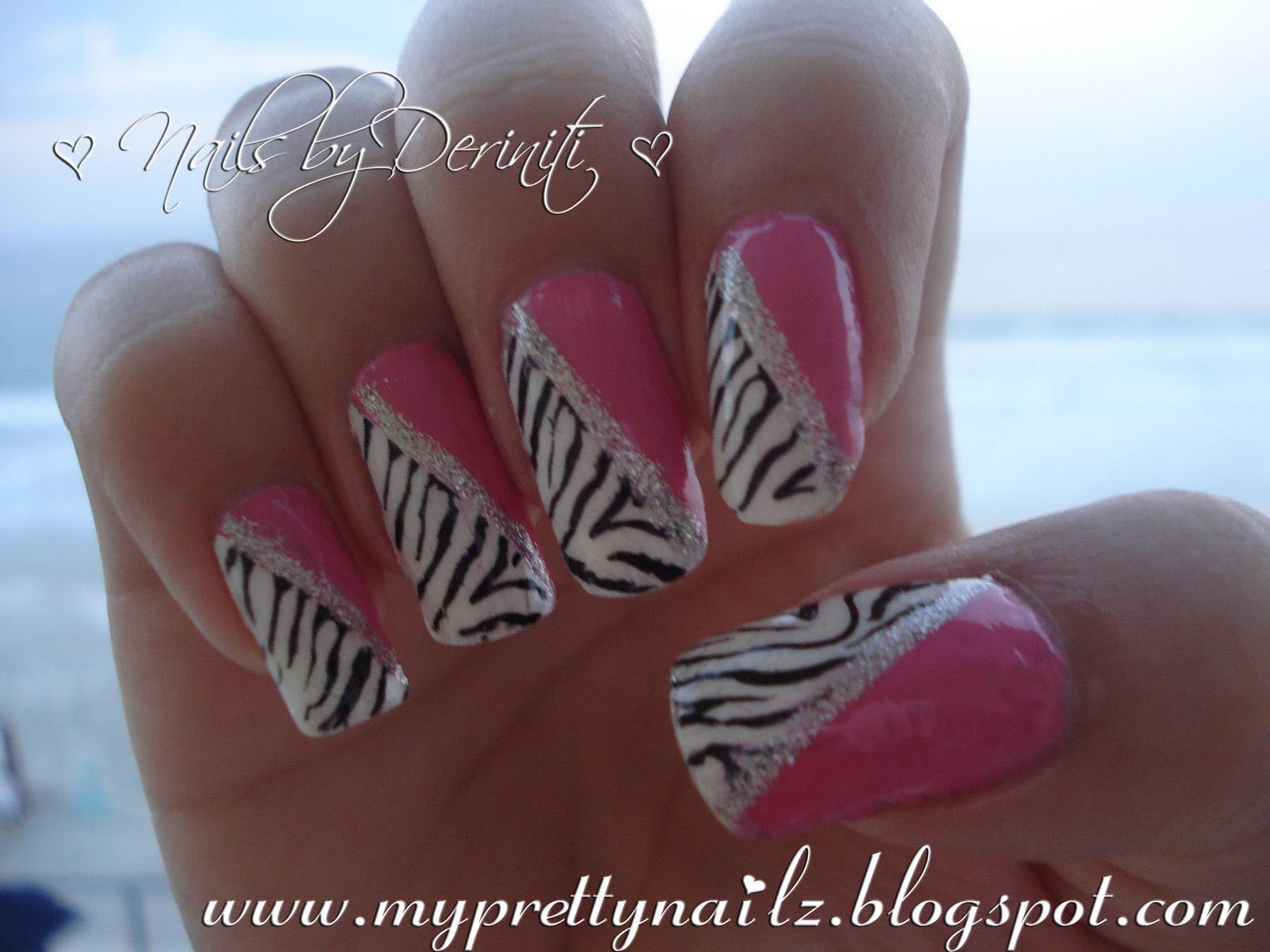 My Pretty Nailz Pink And White Zebra Print Konad Nail Art Stamping
