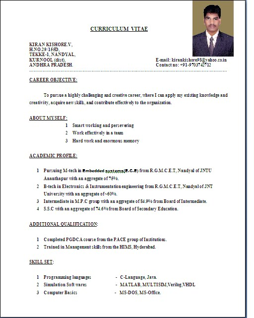 A Resume Format | Resume Format Download Pdf