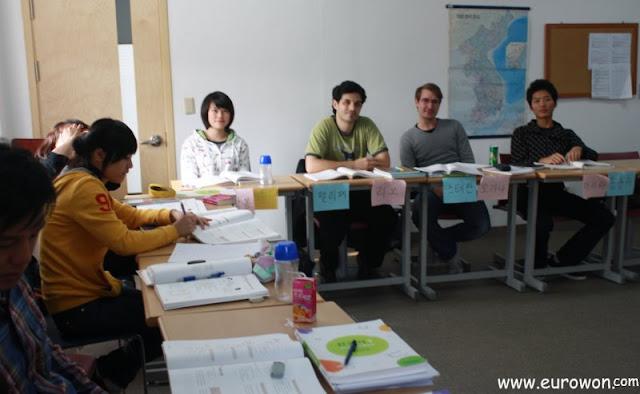 Descanso en una clase de coreano en la SNU