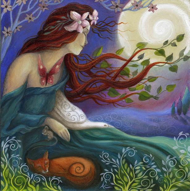 Earth Angels Art. Art And Illustrations Amanda Clark Habondia. Goddess Painting In