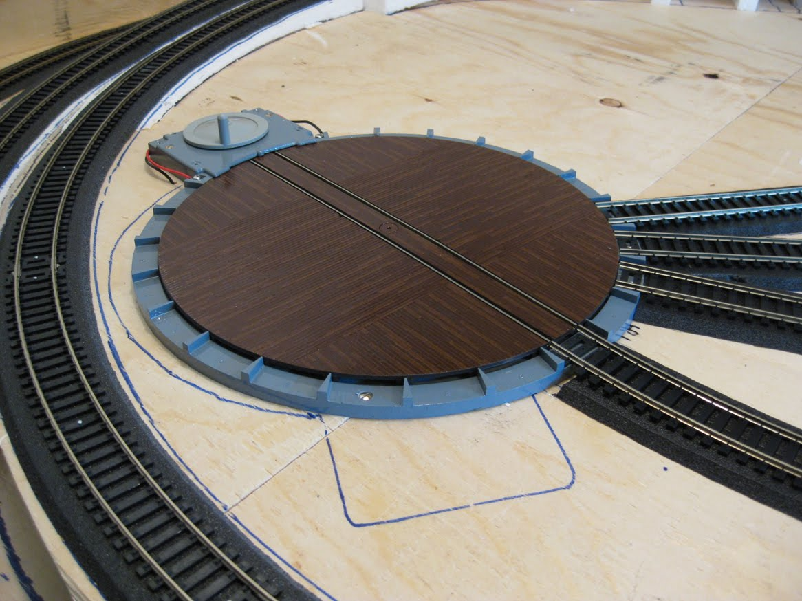 Painted wooden train trestle Painted atlas turntable
