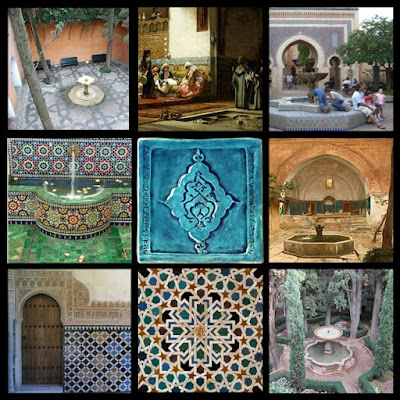 Some main elements of the moroccan sesign style are moorish tiles and fountains...