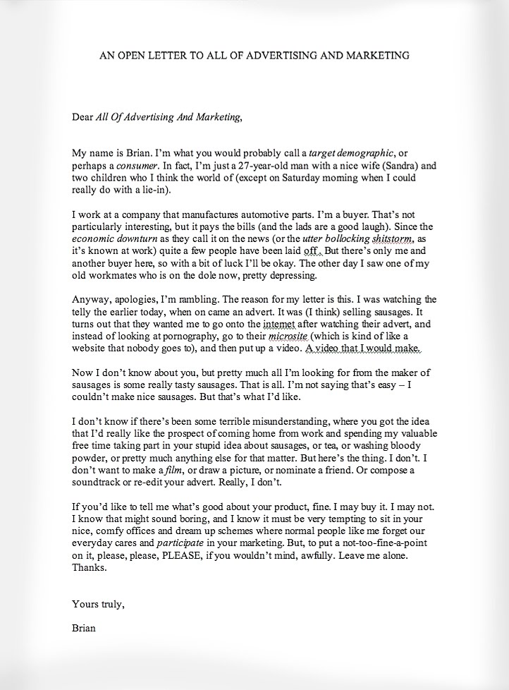 An Open Letter To All Of Advertising And Marketing From A Fairly ...
