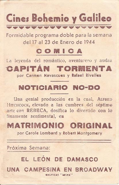 Programa de Cine - Matrimonio Original - Carole Lombard - Robert Montgomery