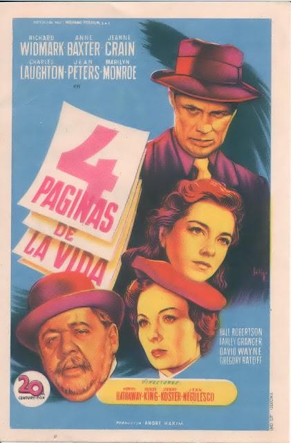 Programa de Cine - 4 Páginas de la Vida - Richard Widmark - Anne Baxter - Jeanne Crain - Marilyn Monroe