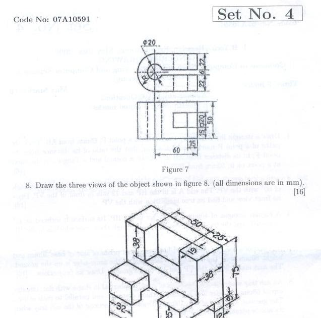 ENGINEERING DRAWING: EDP Question Papers: CSE REG JUNE 08