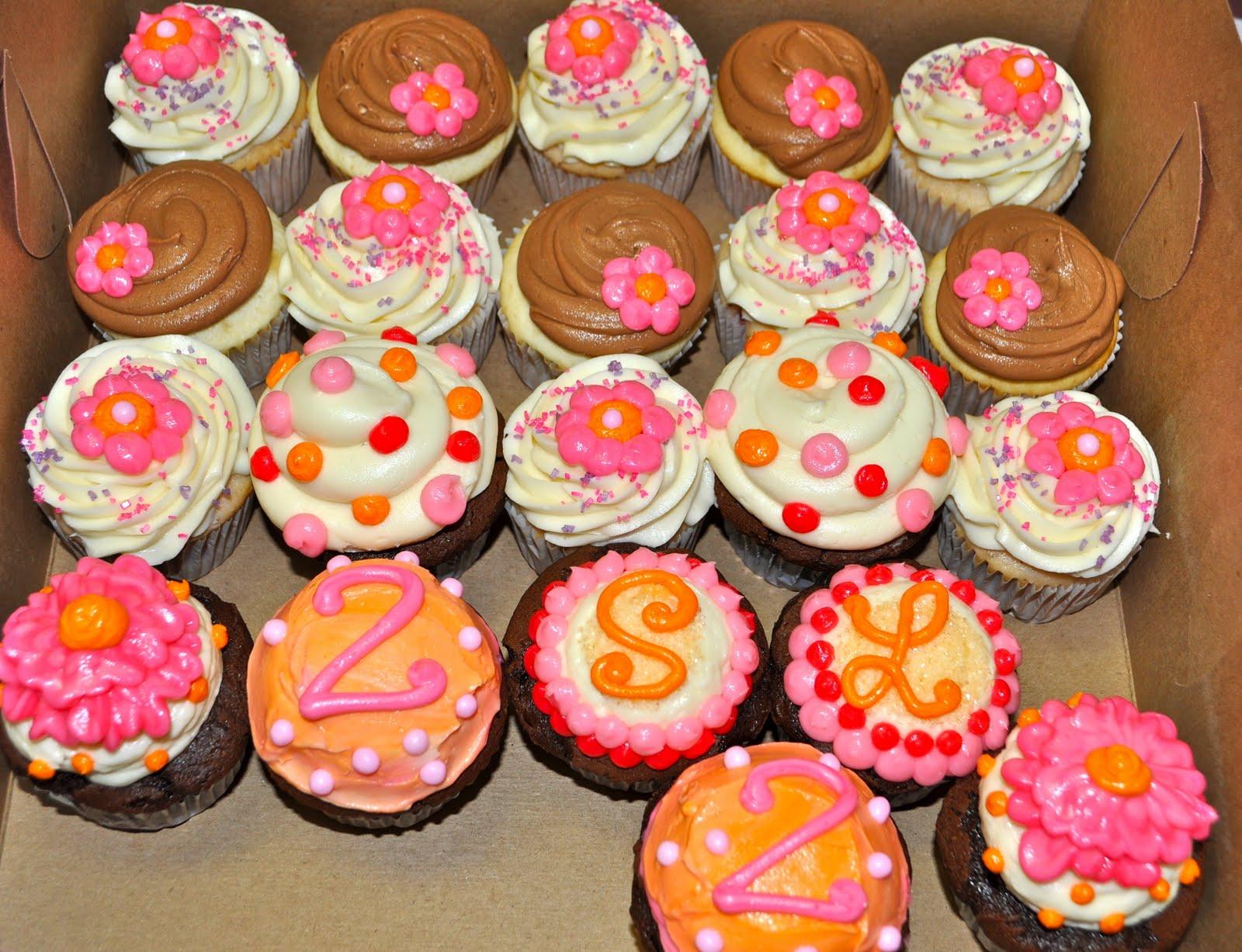 Twin Girls 2nd Birthday Cupcakes