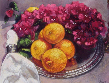 """Oranges on a Silver Tray"""