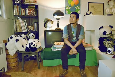Montrealer artist from China, fashion illustrator with panda Benda at home studio