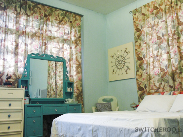 bedroom makeover, aqua bedroom, tropical curtain, switcheroom