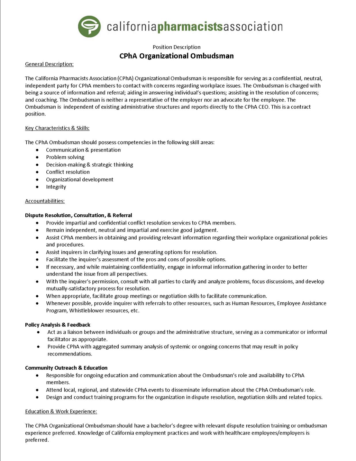 The ombuds blog job posting california pharmacists for Job postings template