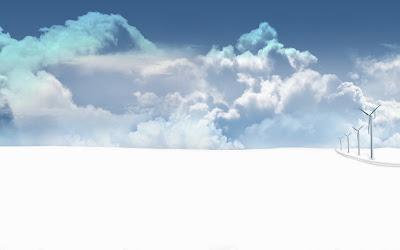 Windmolens in de sneeuw