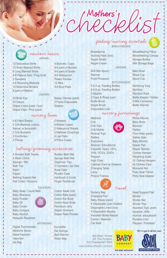 Download Motheru0027s Checklist from Baby Company - newborn checklist