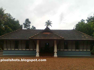 front view of St alphonsas home at kottayam,nalukettu depiction,small nalukettu,alphonseum