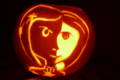 Red rapunzel coraline pumpkin for Rapunzel pumpkin template