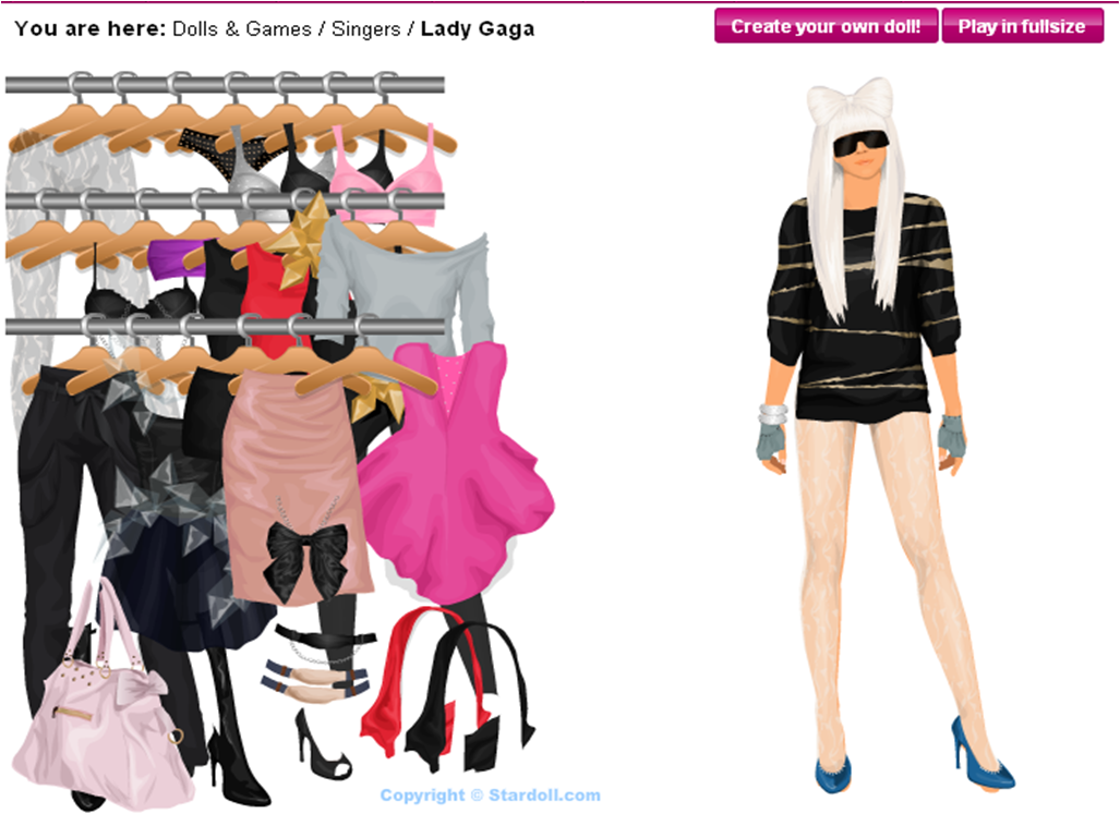 Digital Examples: Lady Gaga and Justin Beiber in Stardoll