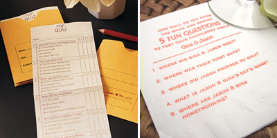 Guest questionnaires about the bride and groom