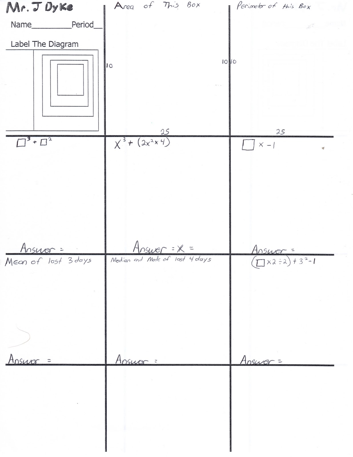 Hands On Math Box Paper Variation Warm Up