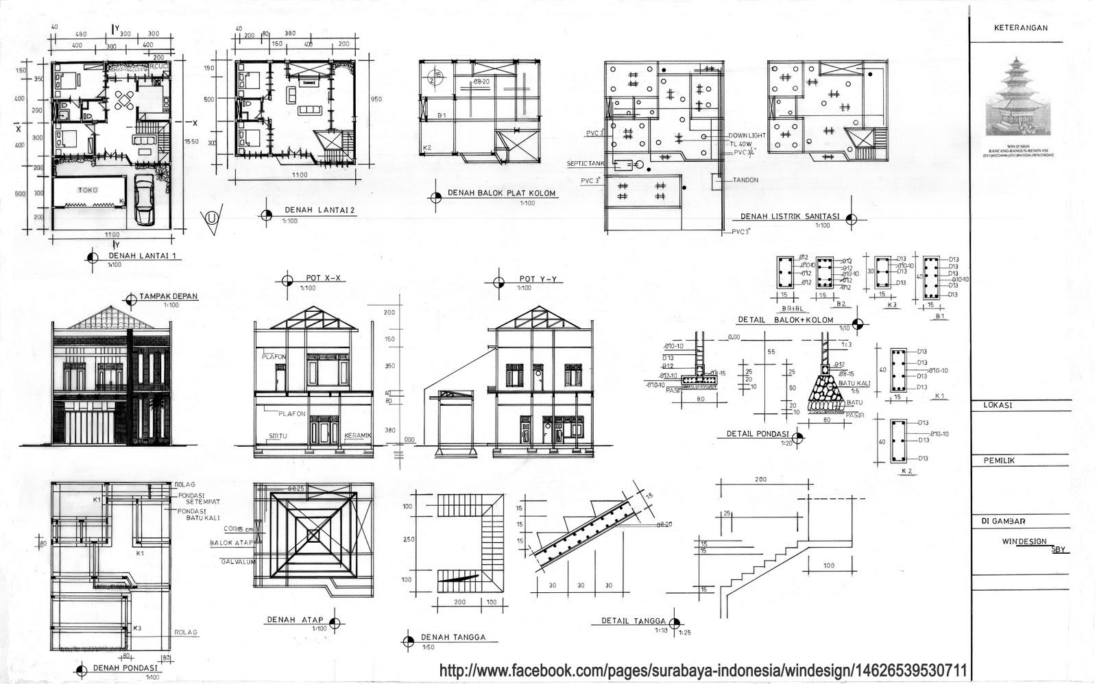 Gambar Kerja Denah Dan Tampak Rumah Kotak 2 Lantai – Cuitan