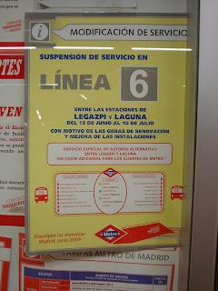 Cortes en  la línea 6 de Metro