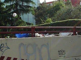 Pobres en los parques de Madrid