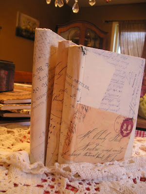 Decoupage old books with old letters
