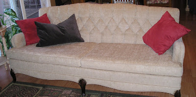 re- upholstered vintage couch