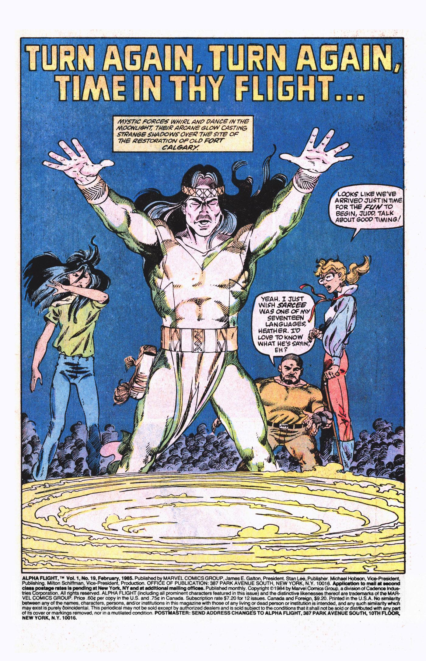 Read online Alpha Flight (1983) comic -  Issue #19 - 2