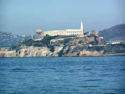 A close up of Alcatraz (The Rock) in San Francisco Bay